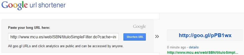 Google url shortener 2